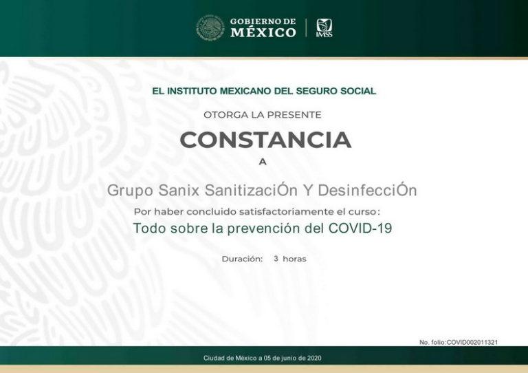 el IMSS instituto mexicano del seguro social certifica a sanix cancun por saber todo sobre la prevencion del covid 19